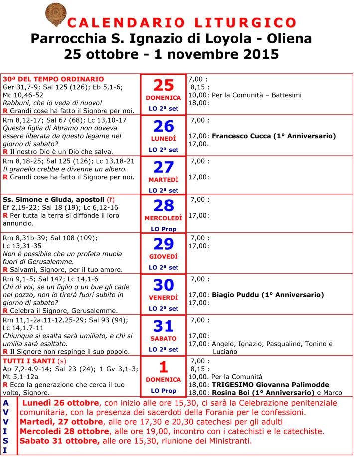 Calendario Religioso.Calendario Liturgico 25 Ottobre 1 Novembre 2015