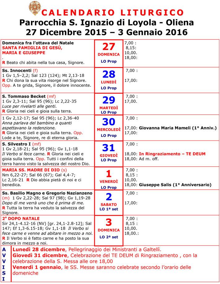 Calendario Religioso.Calendario Liturgico 27 Dicembre 20015 3 Gennaio 2016