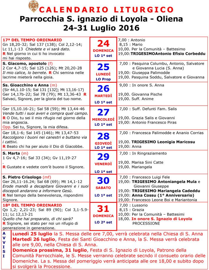 Calendario 31 Luglio.Calendario Liturgico 24 31 Luglio 2016